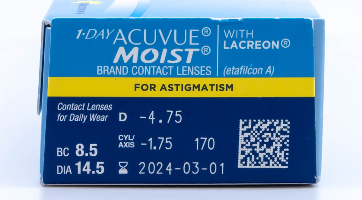 1 Day Acuvue Moist for Astigmatism with Lacreon Powers
