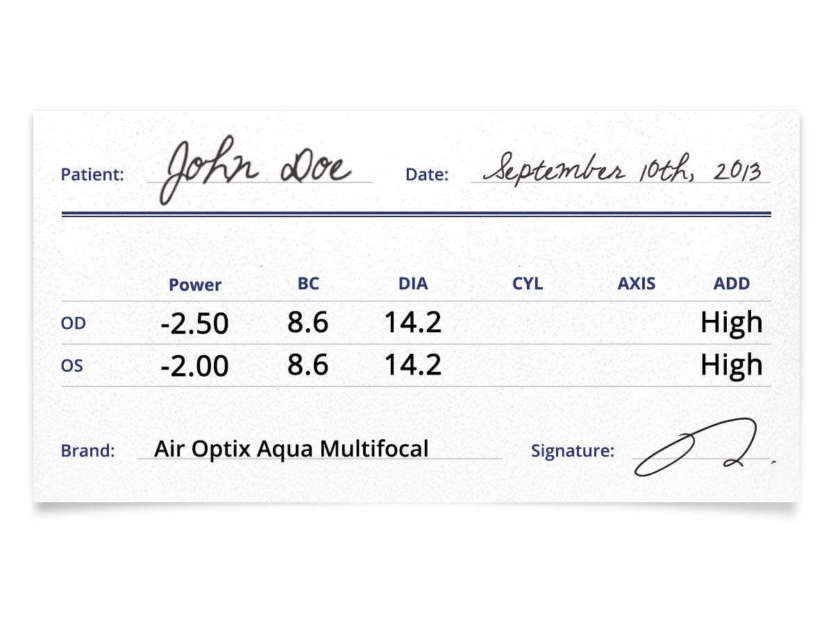 Air Optix Aqua Multifocal Prescription Contacts
