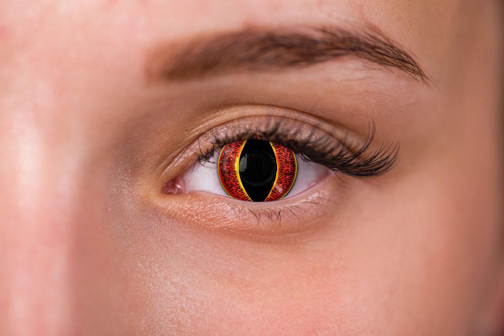Woman wearing banshee contacts red yellow
