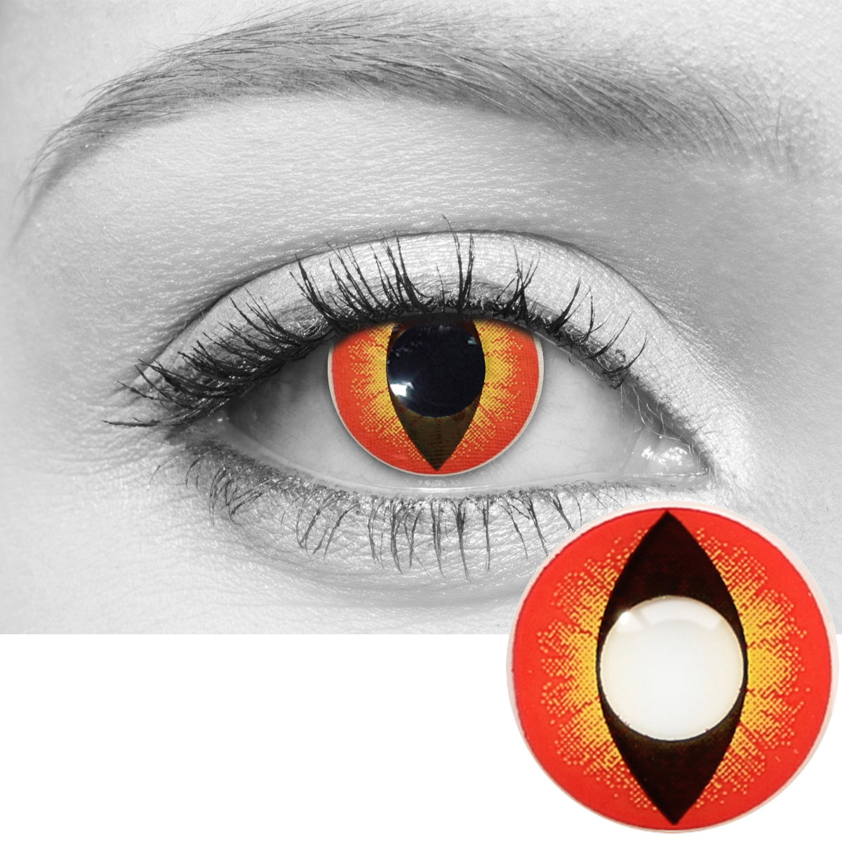 Banshee red yellow contacts closeup