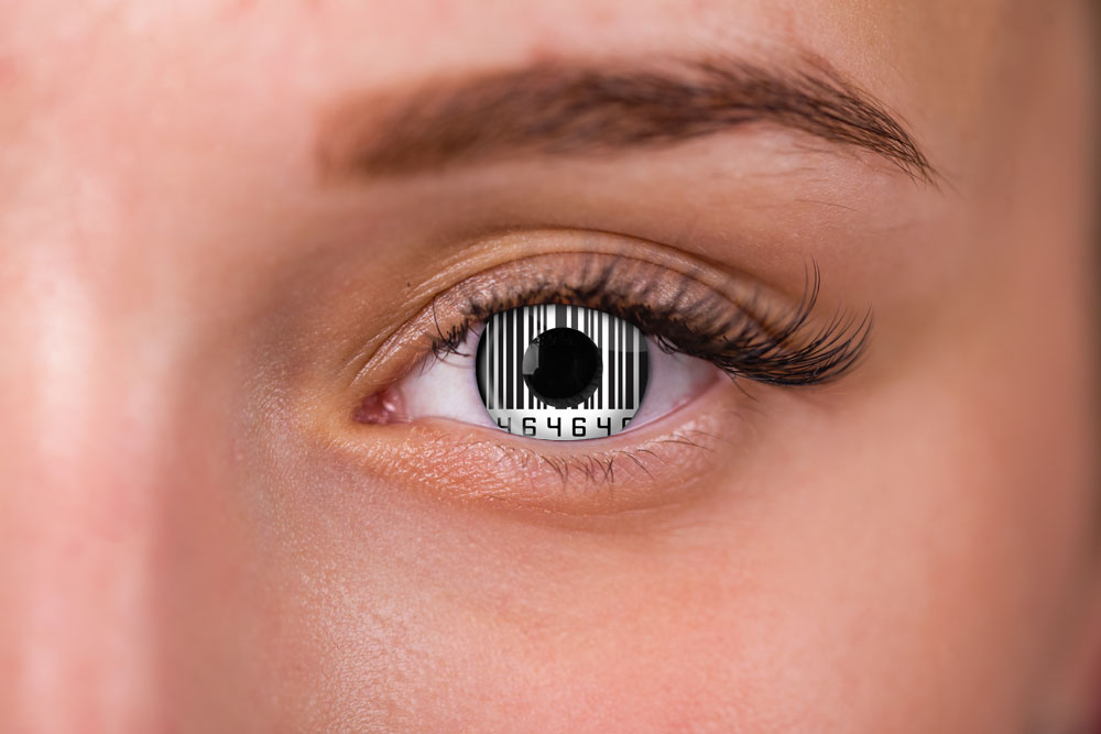 woman wearing black and white contacts