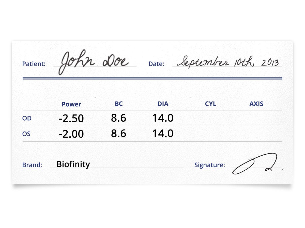 Biofinity 6pk Prescription