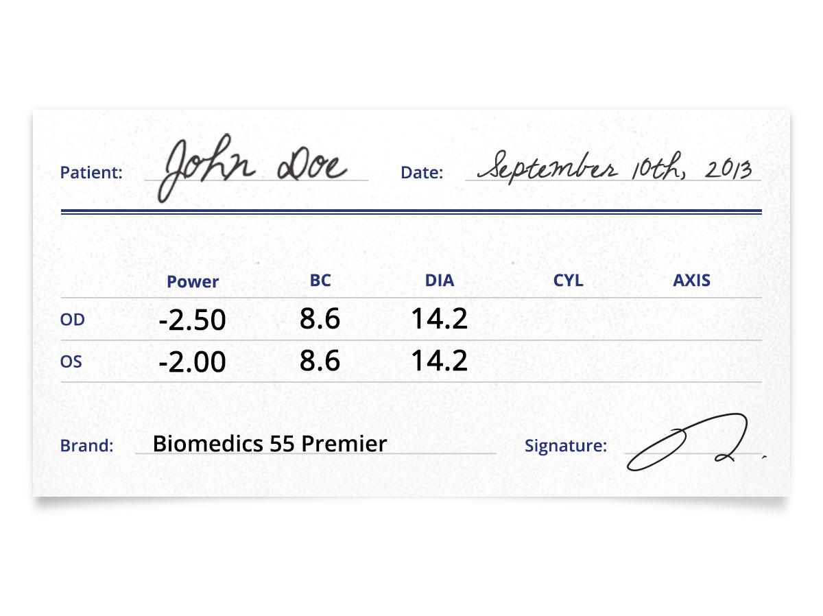 Biomedics 55 Premier Prescription Contacts