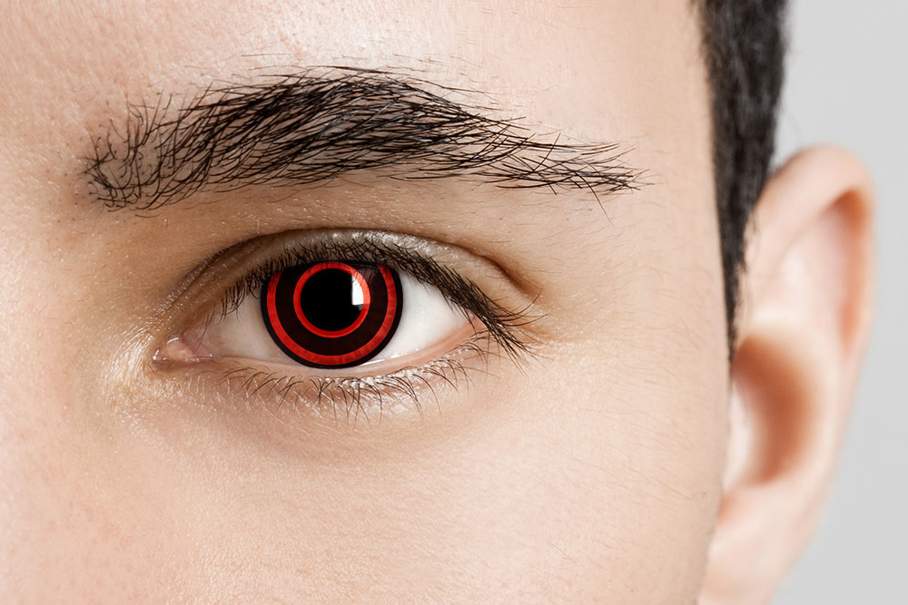 man wearing red and black contacts bullseye