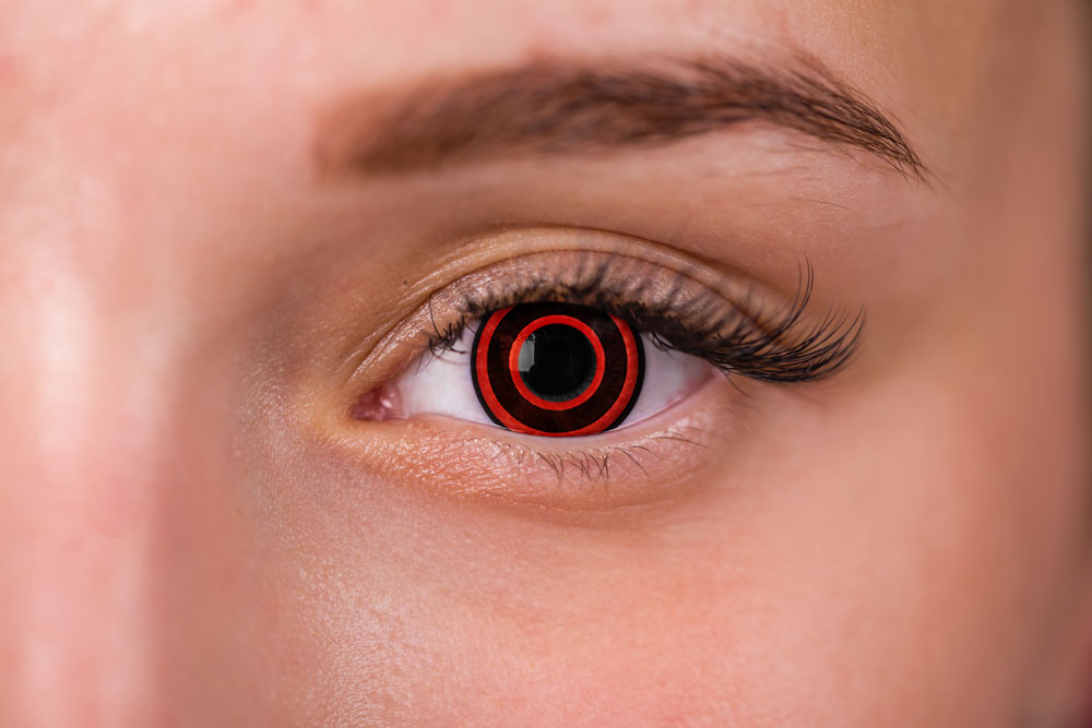 woman wearing red and black contacts bullseye