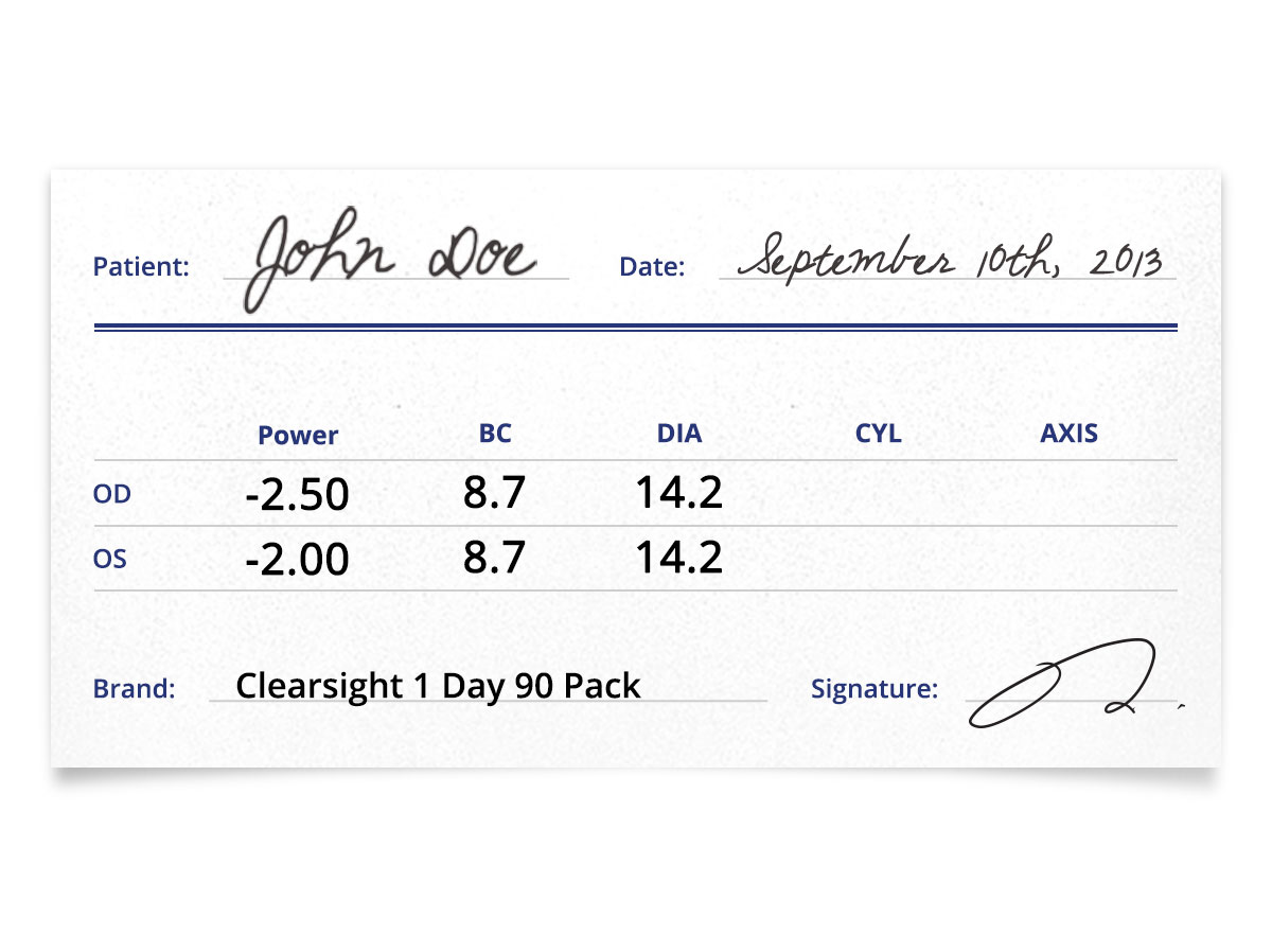 clearsight 1 day 90 pack prescription contacts