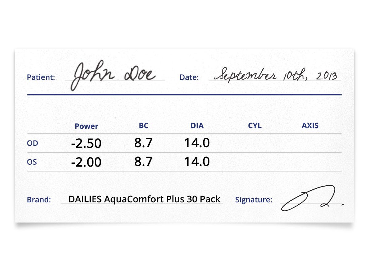 DAILIES Aquacomfort Plus 30 Pack Prescription