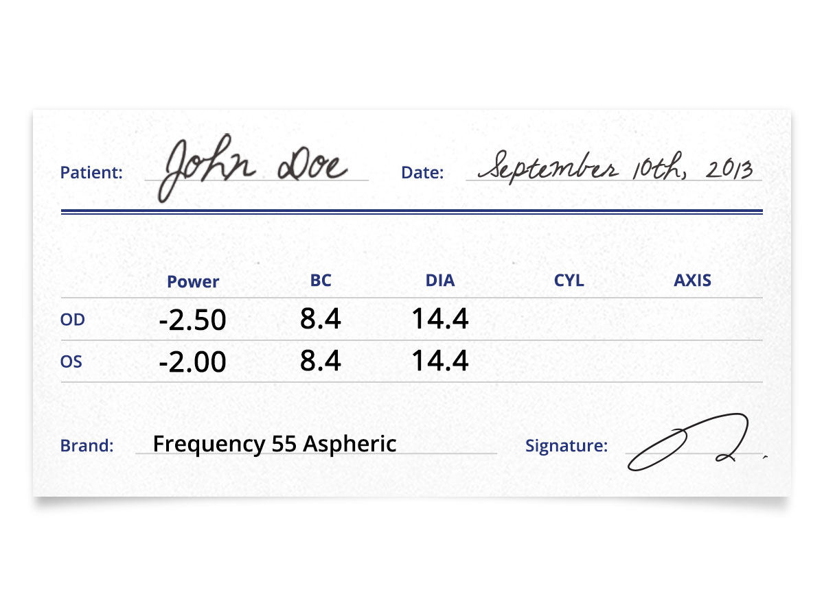 Frequency 55 Aspheric Contact Lenses Prescription