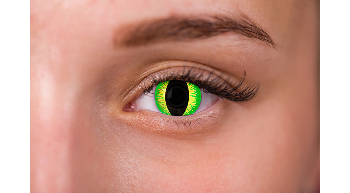 woman wearing green reptile contacts