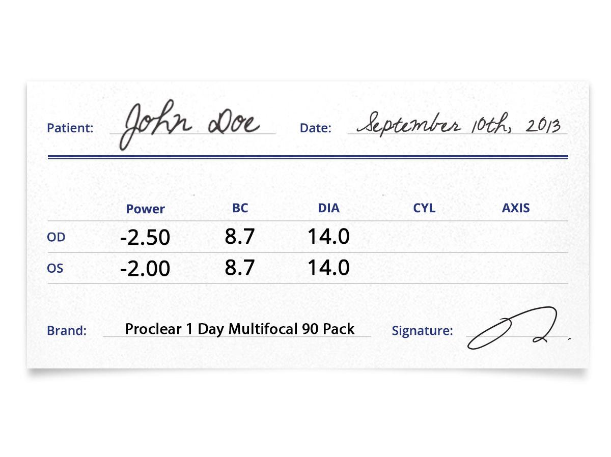 Proclear 1-Day Multifocal 90pk Prescription