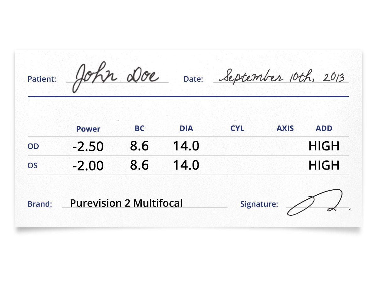 PureVision 2 Multifocal Contacts Prescription