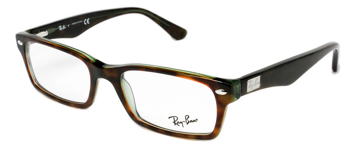 1b93c66a8d43a ... Glasses Ray Ban RX5206 Havana   Green angled ...