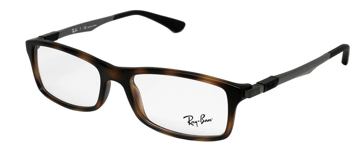 9fd33f0a7e ... Ray Ban RX7017 5200 Matte Havana Glasses Angled ...