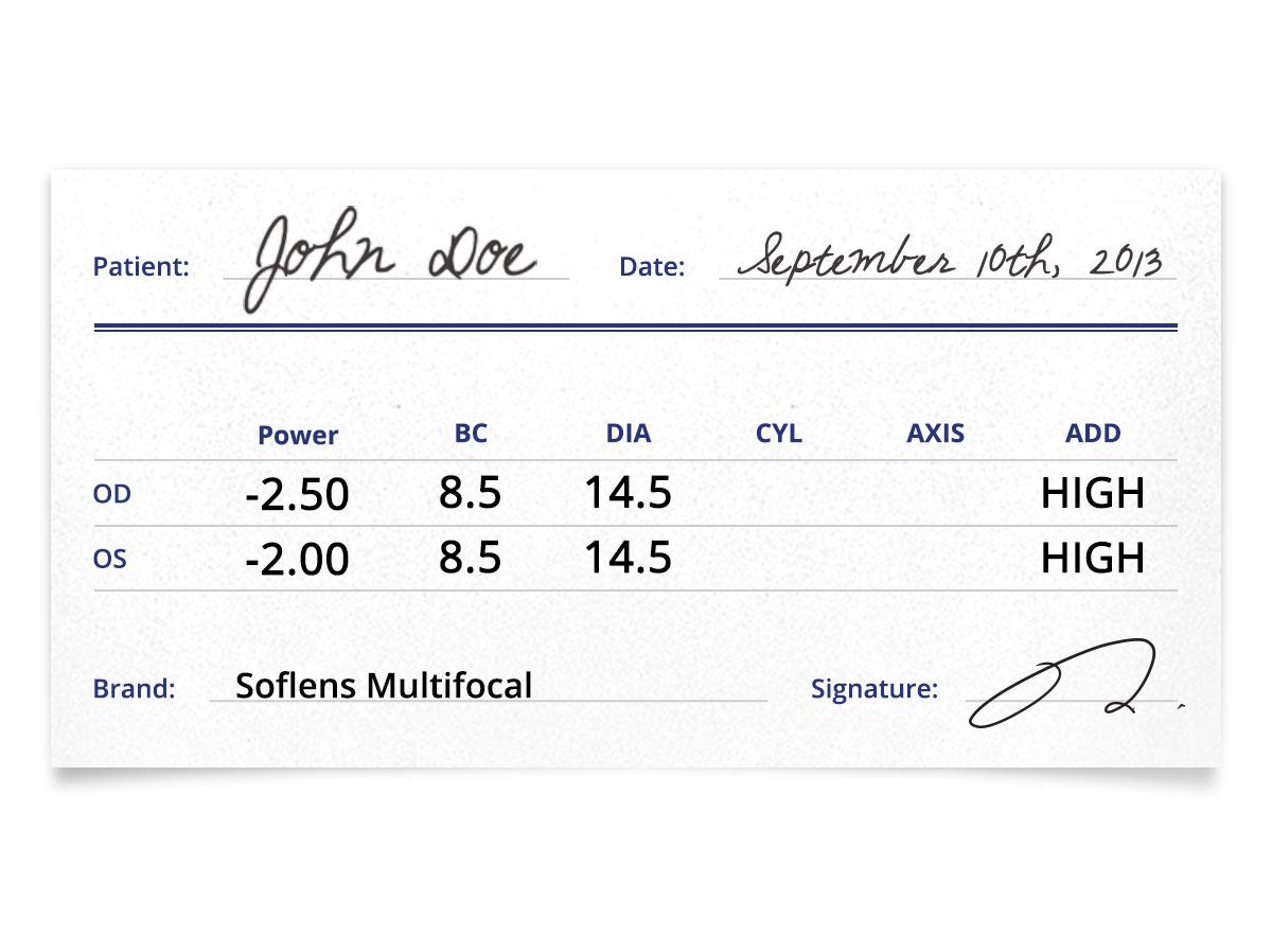 Soflens Multifocal Contact Lens Prescription
