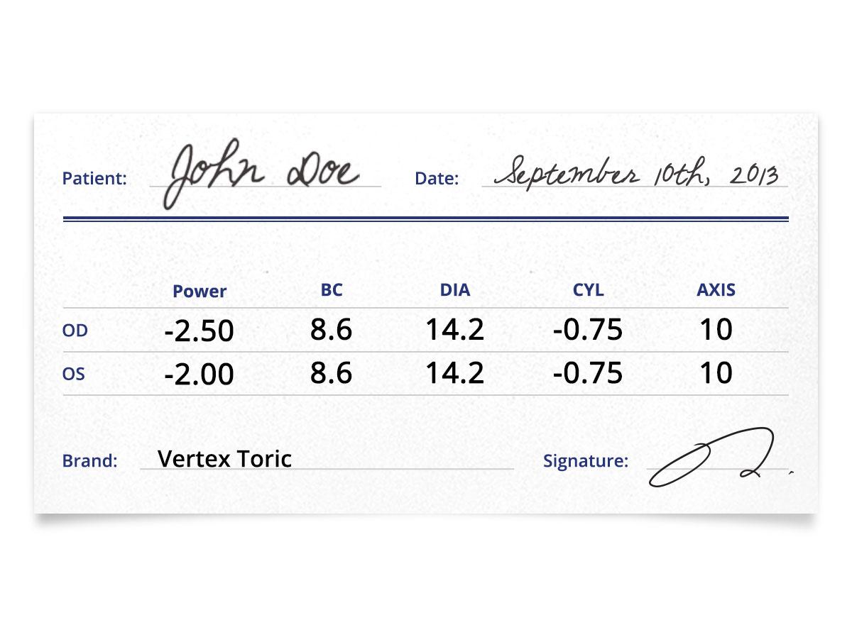 Vertex Toric prescription contacts