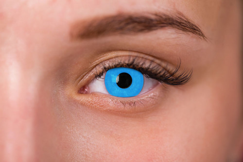 Woman Wearing Zombie Blue Contacts