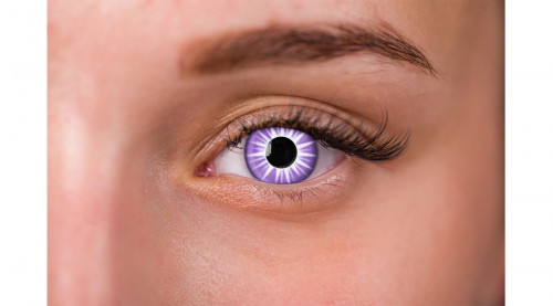 woman wearing purple and white starburst contacts